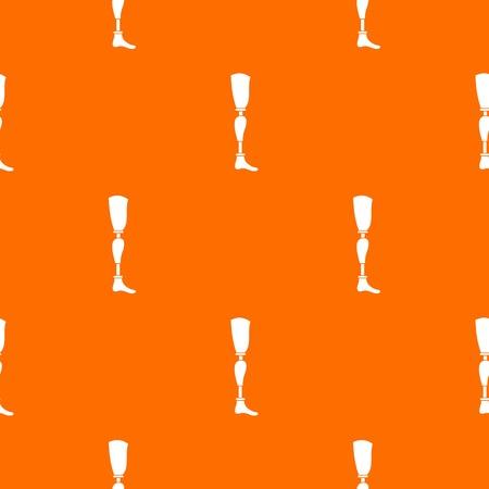 Prosthesis leg pattern repeat seamless in orange color for any design. Vector geometric illustration Illustration