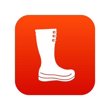 Rubber boots icon digital red Illustration
