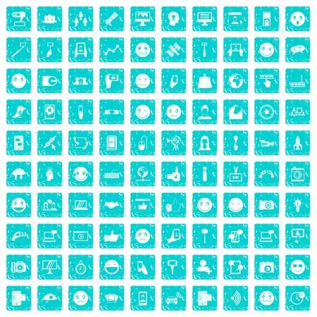 100 social media icons set grunge blue Imagens - 88720992