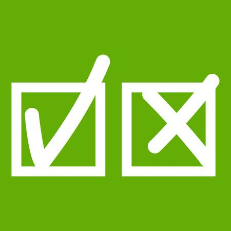 Checkmark to accept and refusal icon green