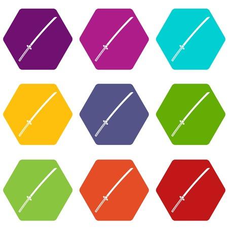Japanese katana icon set color hexahedron