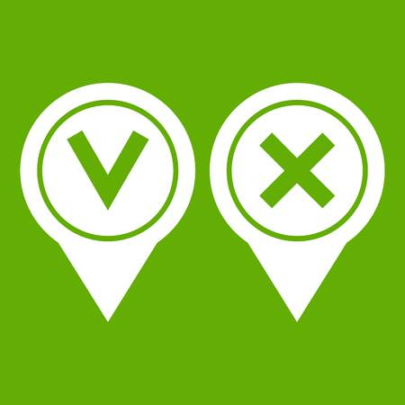 Tick affirmative and negative icon green