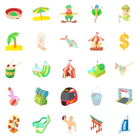 Experienced camper icons set, cartoon style