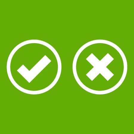 confirm: Tick and cross selection icon white isolated on green background. Vector illustration Illustration