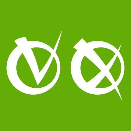 validation: Tick and cross in circles icon white isolated on green background. Vector illustration Illustration