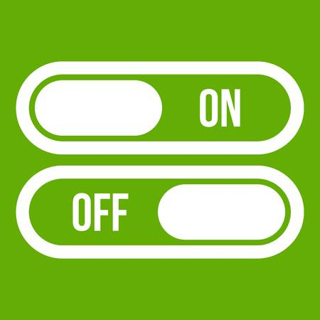confirm: Button on and off icon white isolated on green background. Vector illustration