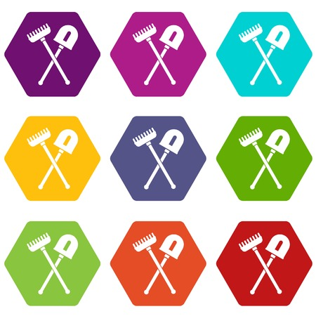Shovel and rake icon set many color hexahedron isolated on white vector illustration