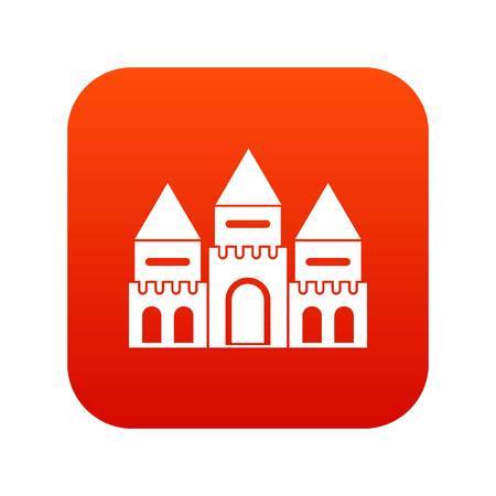 Children house castle icon digital red for any design isolated on white vector illustration