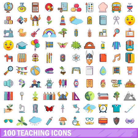 100 teaching icons set. Cartoon illustration of 100 teaching vector icons isolated on white background