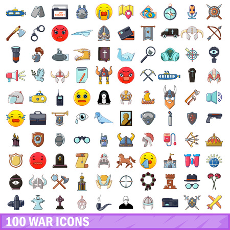 100 war icons set. Cartoon illustration of 100 war vector icons isolated on white background