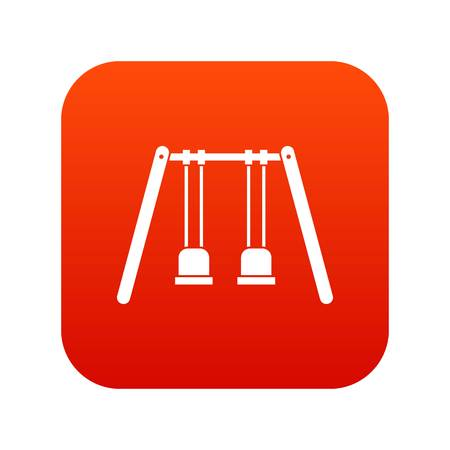 Wooden swings hanging on ropes icon digital red for any design isolated on white vector illustration Illustration