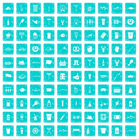 100 beer icons set in grunge style blue color isolated on white background vector illustration