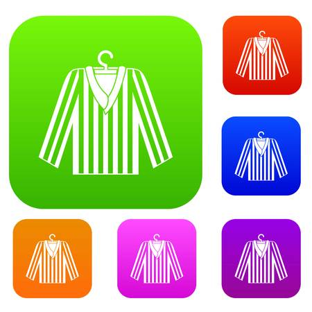 Striped pajama shirt set icon color in flat style isolated on white. Collection sings vector illustration