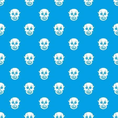 Living dead pattern repeat seamless in blue color for any design. Vector geometric illustration
