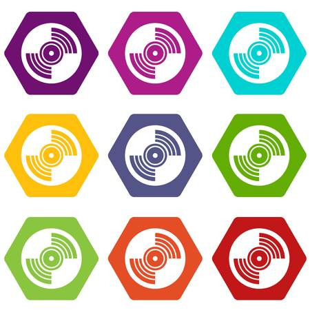 grooves: Gramophone vinyl LP record icon set many color hexahedron isolated on white vector illustration Illustration