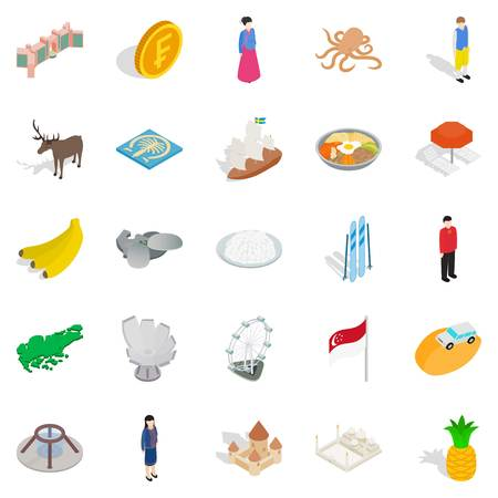 Point of interest icons set. Isometric set of 25 point of interest vector icons for web isolated on white background