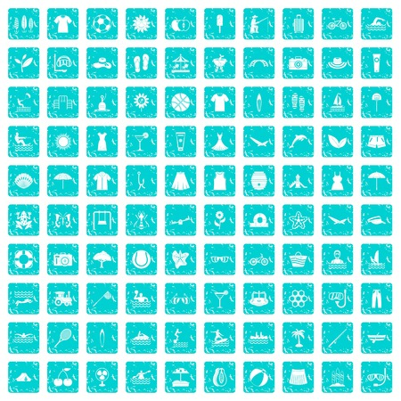 100 summer icons set in grunge style blue color isolated on white background vector illustration Ilustracja