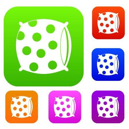 Pillow with dots set icon color in flat style isolated on white. Collection sings vector illustration