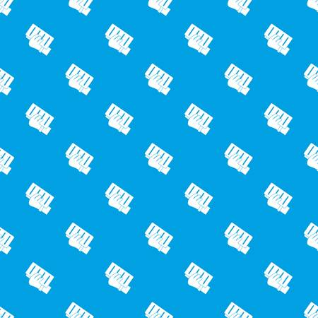 Brick in a hand pattern repeat seamless in blue color for any design. Vector geometric illustration Ilustração