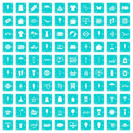 100 summer shopping icons set in grunge style blue color isolated on white background vector illustration