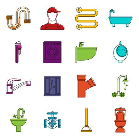 Plumbing icons set. Doodle illustration of vector icons isolated on white background for any web design