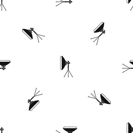 Studio lighting equipment pattern repeat seamless in black color for any design. Vector geometric illustration