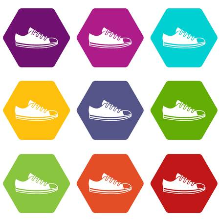 Canvas sneaker icon set many color hexahedron isolated on white vector illustration Illustration