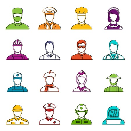 Professions icons set. Doodle illustration of vector icons isolated on white background for any web design