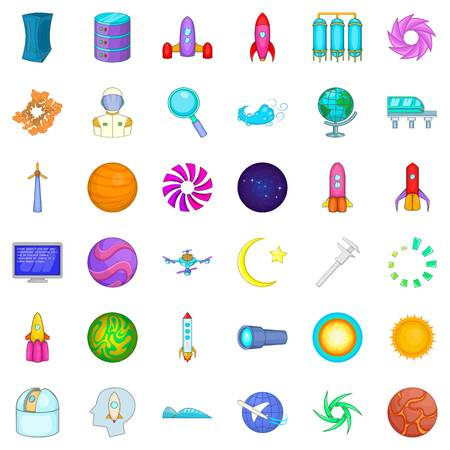 Exploration icons set. Cartoon style of 36 exploration vector icons for web isolated on white background