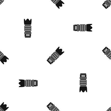 Interchangeable lens for camera pattern repeat seamless in black color for any design. Vector geometric illustration