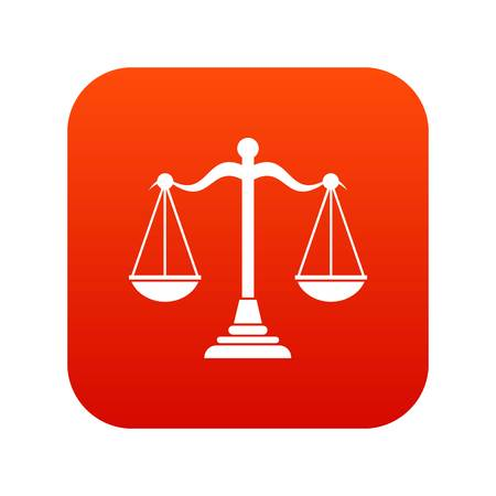 Balance scale icon digital red for any design isolated on white vector illustration