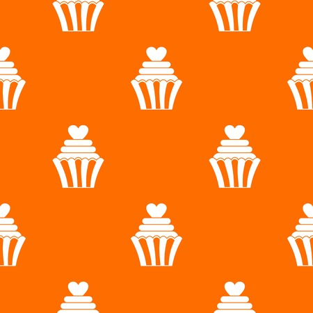 Love cupcake pattern repeat seamless in orange color for any design. Vector geometric illustration