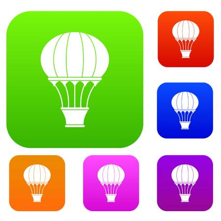 Hot air balloon with basket set icon color in flat style isolated on white. Collection sings vector illustration