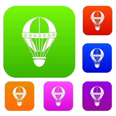 Vintage hot air balloon set icon color in flat style isolated on white. Collection sings vector illustration