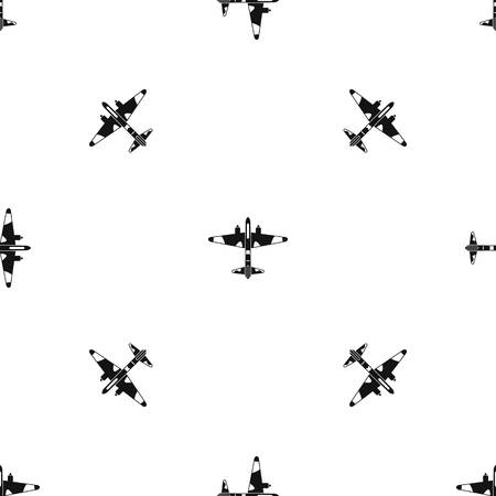 Military fighter aircraft pattern repeat seamless in black color for any design. Vector geometric illustration Ilustração