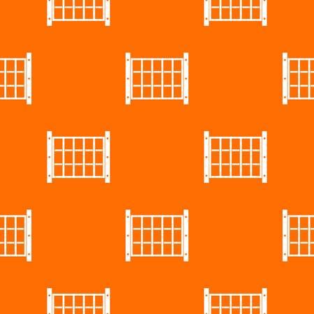Het patroon van de werfomheining herhaalt naadloos in oranje kleur voor om het even welk ontwerp. Vector geometrische illustratie
