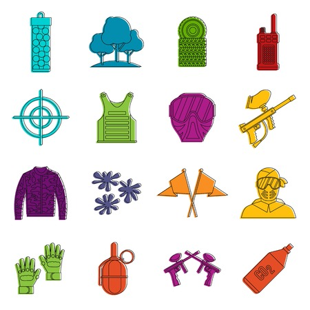 Paintball icons set. Doodle illustration of vector icons isolated on white background for any web design