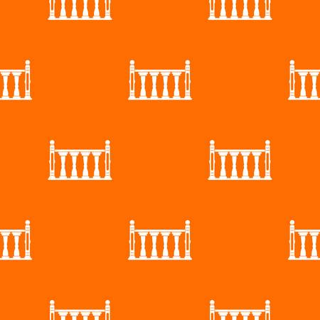Balustrade pattern repeat seamless in orange color for any design. Vector geometric illustration