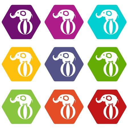 코끼리 공을 아이콘에 균형을 설정 컬러 육면체 스톡 콘텐츠 - 88777592