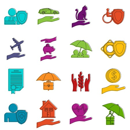 Insurance icons set. Doodle illustration of vector icons isolated on white background for any web design