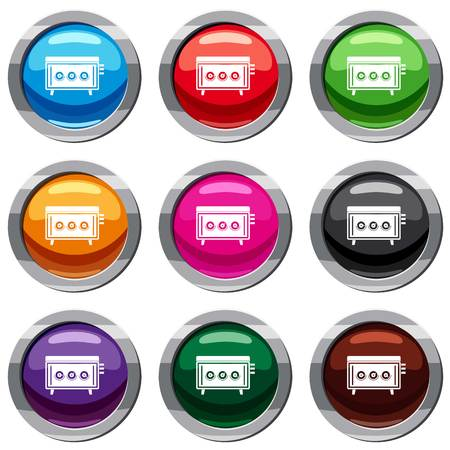 CD changer set icon isolated on white. 9 icon collection vector illustration