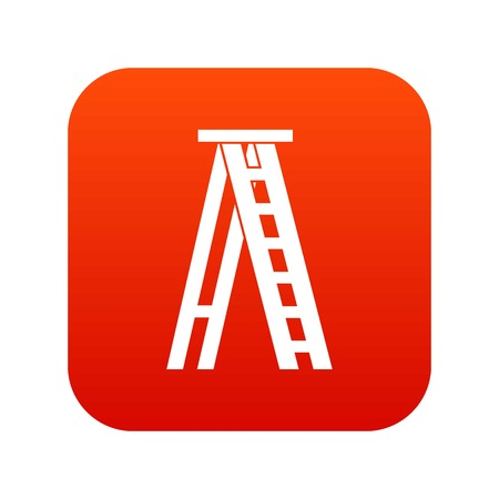 Stepladder icon digital red for any design isolated on white vector illustration