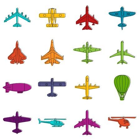 Aviation icons doodle set Illustration