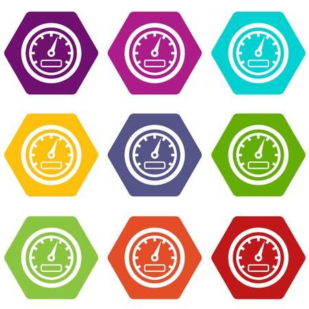 Speedometer icon set color hexahedron
