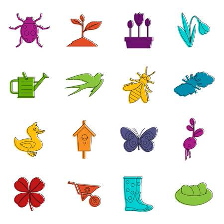 Spring icons doodle set