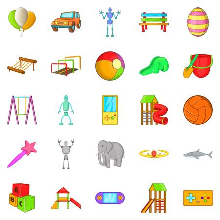 Yard entertainment icons set, cartoon style Illustration
