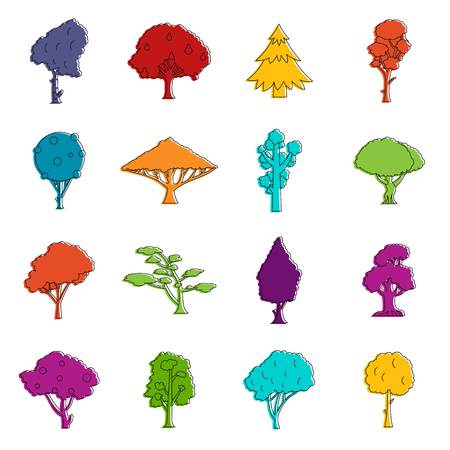 icon series: Trees icons doodle set