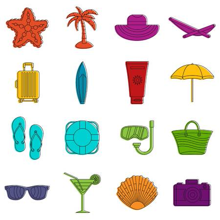 Summer rest icons set. Doodle illustration of vector icons isolated on white background for any web design Illustration