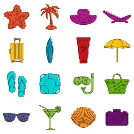lifeline: Summer rest icons set. Doodle illustration of vector icons isolated on white background for any web design Illustration
