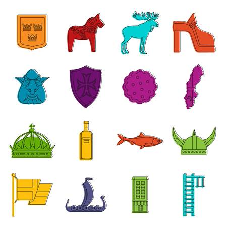 scandinavia: Sweden travel icons set. Doodle illustration of vector icons isolated on white background for any web design